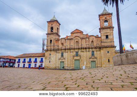 Street view, historic Cathedral of Santisima Trinidad y San Antonio de Padua at Zipaquira, located