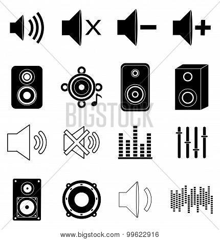 Music sound icons set