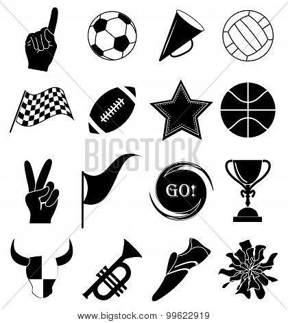 Sports fan icons set