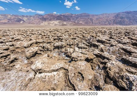 Vast salt desert of Devil's Golf Course in Death Valley National Park. California, USA