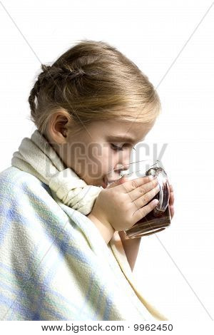 Child Is Ill With Cup Of Tea