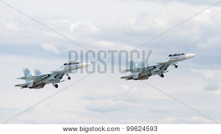 Su-30 Flying At An Airshow