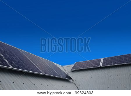 Solar power panels on roof