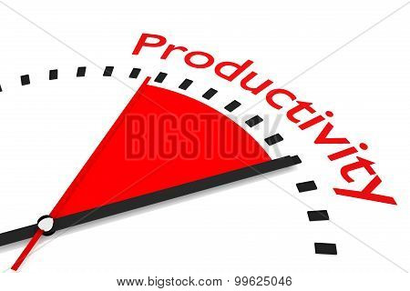 Clock With Red Seconds Hand Area Productivity Illustration