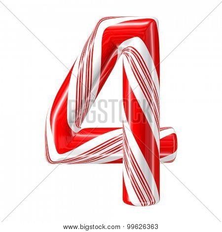 Mint hard candy cane 3d number collection striped in Christmas colours. Figure 4.