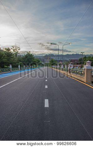 Highway Heading To Khun Dan Prakan Chon. Nakhon Nayok, Thailand