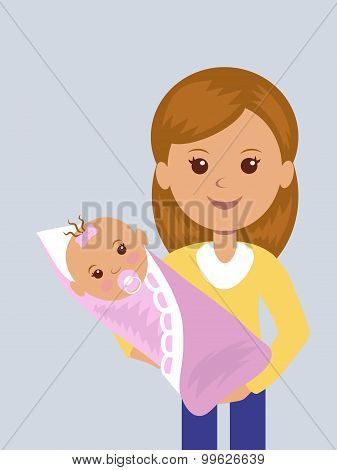 Young mother with a newborn baby in her arms.