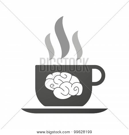 Cup Of Coffee Icon  With A Brain