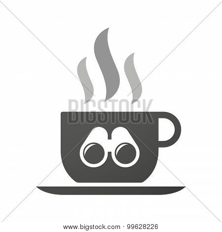 Cup Of Coffee Icon  With A Binoculars