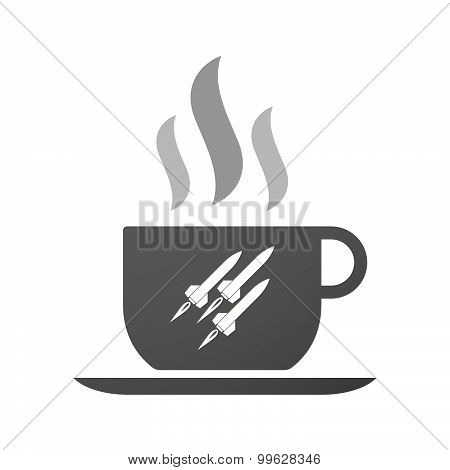 Cup Of Coffee Icon  With Missiles