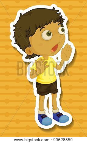 Little boy in yellow shirt shouting illustration