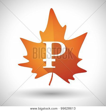 Autumn Leaf Icon With A Ruble Sign