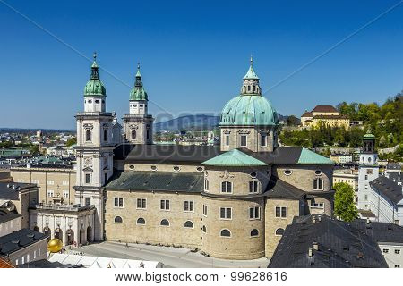View To The Old City And Cathedra Of Salzburg