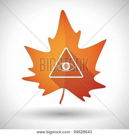 Autumn Leaf Icon With An All Seeing Eye