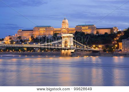 Hungarian landmarks in Budapest at night.