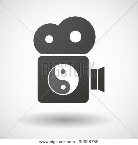 Cinema Camera Icon With A Ying Yang