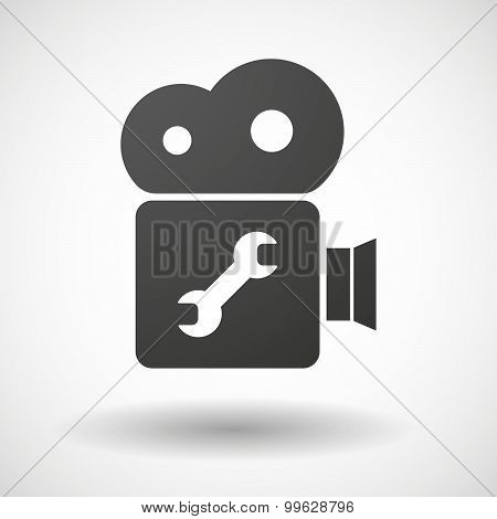 Cinema Camera Icon With A Wrench