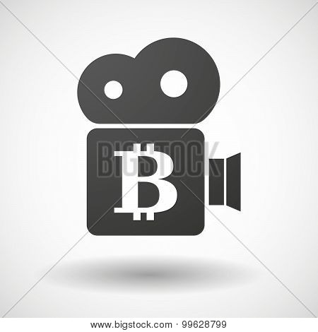 Cinema Camera Icon With A Bit Coin Sign