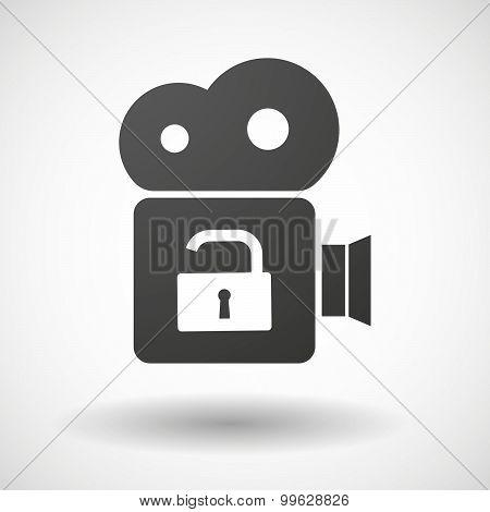 Cinema Camera Icon With A Lock Pad