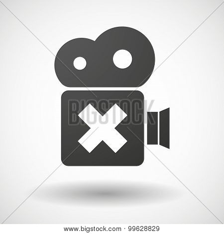 Cinema Camera Icon With An X Sign