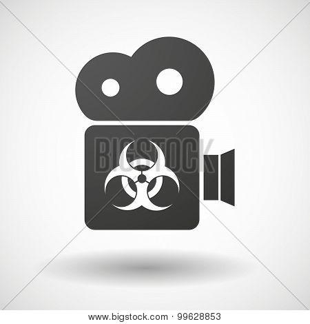 Cinema Camera Icon With A Biohazard Sign