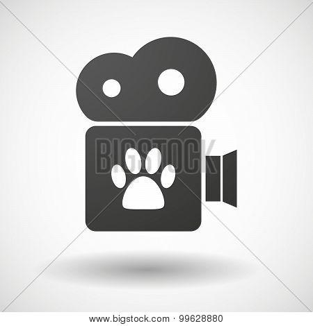 Cinema Camera Icon With An Animal Footprint