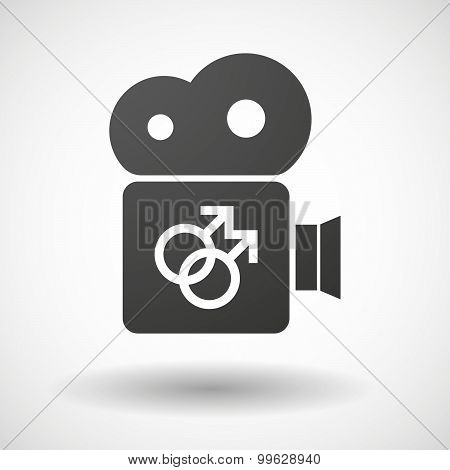 Cinema Camera Icon With A Gay Sign