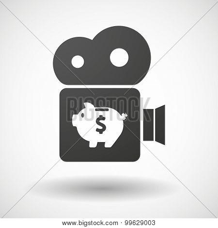 Cinema Camera Icon With A Piggy Bank