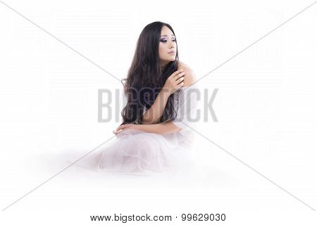 Isolated Young Brunette On The Floor