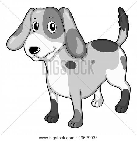 Puppy standing alone on white illustration