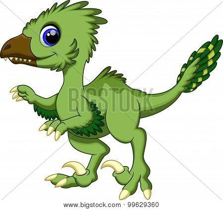 Cute dinosaur deinonychus cartoon