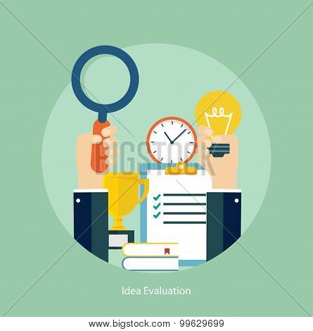 Flat design concept for idea evaluation
