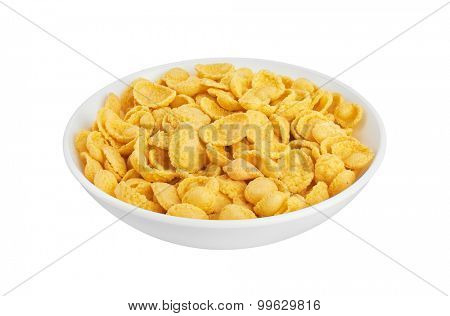 Corn flakes in bowl, isolated on white background