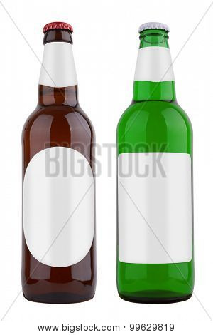 Bottles with label, isolated on white background