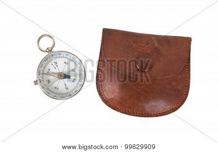 Old Compass With Etui