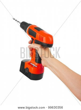 Battery screwdriver or drill in hand, isolated on white background