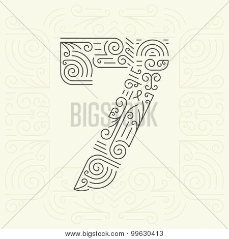 Vector Mono Line style Geometric Font for Your Text. Golden Monogram Design element for Labels and Badges. Number 7