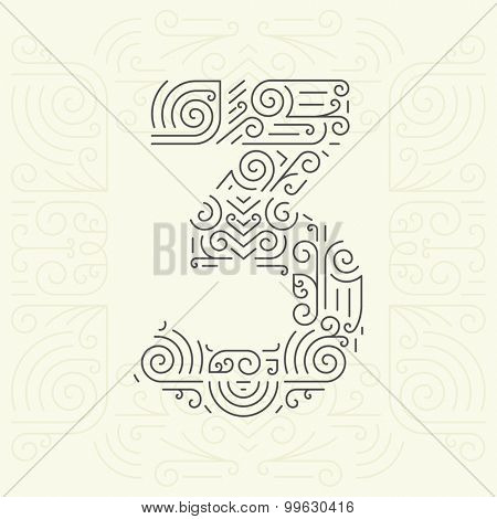 Vector Mono Line style Geometric Font for Your Text. Golden Monogram Design element for Labels and Badges. Number 3