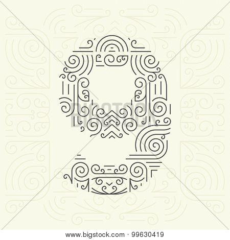 Vector Mono Line style Geometric Font for Your Text. Golden Monogram Design element for Labels and Badges. Number 9