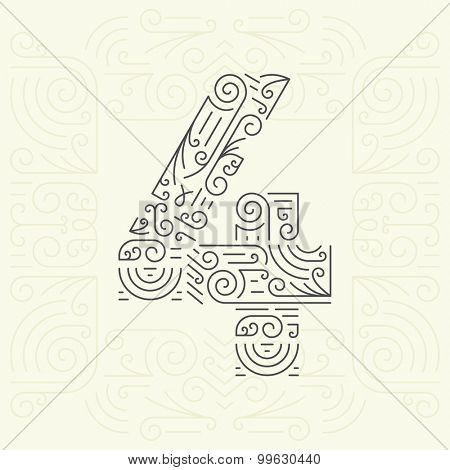 Vector Mono Line style Geometric Font for Your Text. Golden Monogram Design element for Labels and Badges. Number 4