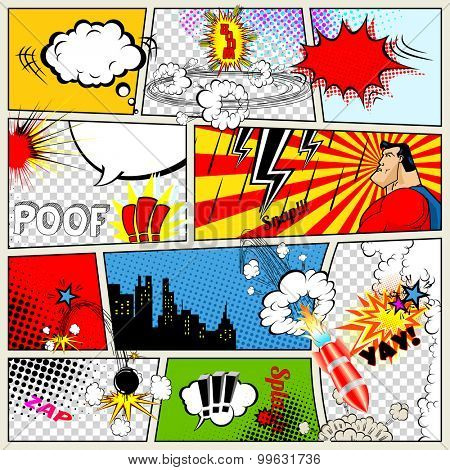 Comics Template. Vector Retro Comic Book Speech Bubbles Illustration. Mock-up of Comic Book Page with place for Text, Speech Bubbles, Symbols, Sound Effects, Colored Halftone Background and Superhero