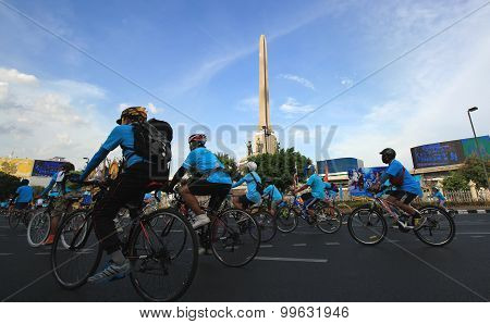 Bangkok, Thailand - August 16, 2015: People Cycling Together In The Event Bike For Mom In Bangkok, T