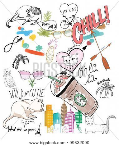 cute heart, cat, coffe, city sunglasses illustration for blogger