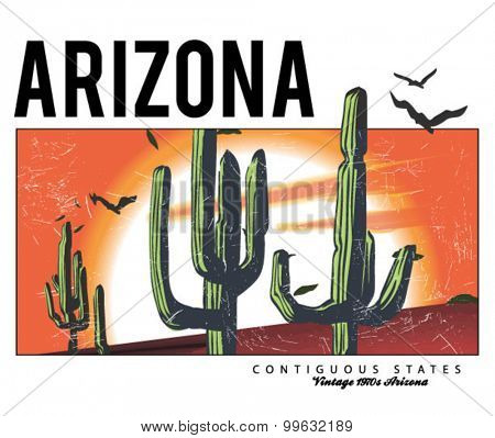 desert arizona cactus illustration for apparel