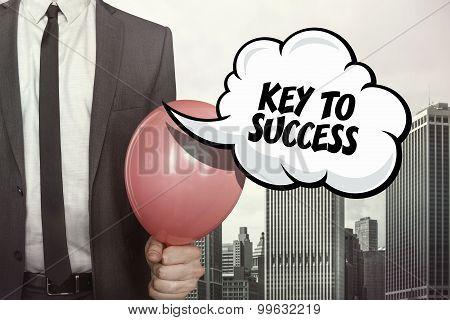 Key to success text on speech bubble