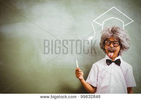 Graduation hat vector against boy dressed as senior teacher in front of blackboard