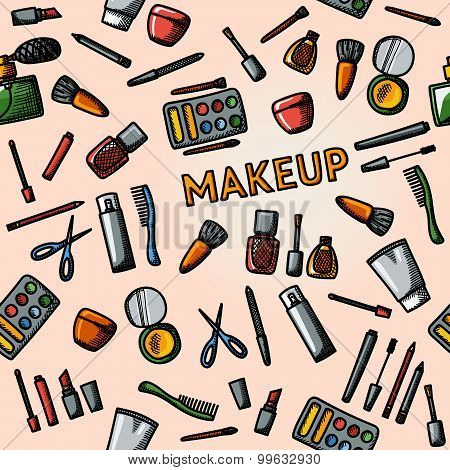 Color hand drawn makeup pattern - mascara, polish, powders, lipsticks, perfume, lotions, comb, nail