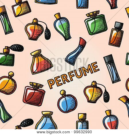 Seamless handdrawn pattern with perfume icons set - different shapes of bottles.