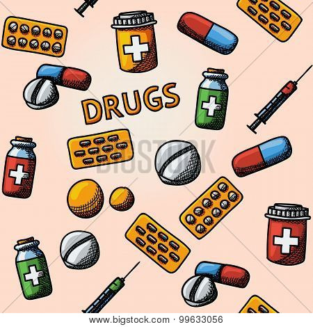 Seamless drugs, pills handdrawn pattern with - box, tablets, blister, vitamins, syringe, liquid medi