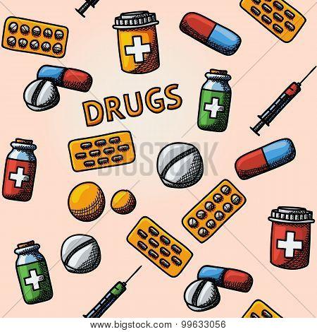 Seamless drugs, pills handdrawn pattern with - box, tablets, blister, vitamins, syringe, liquid medi